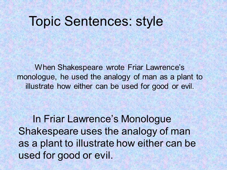 Topic Sentences: style