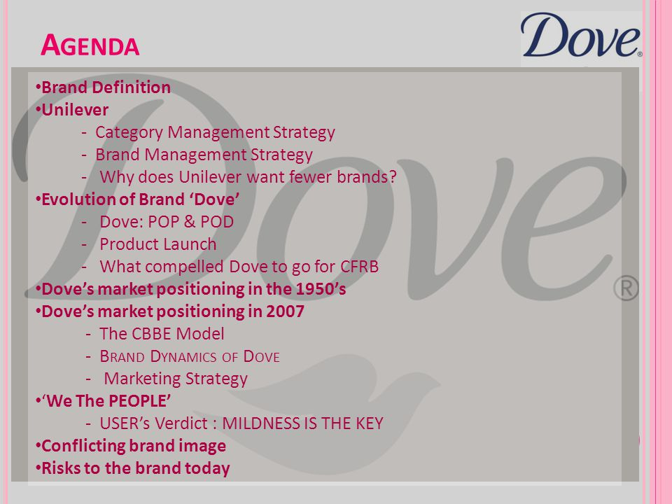 Agenda Brand Definition Unilever - Category Management Strategy