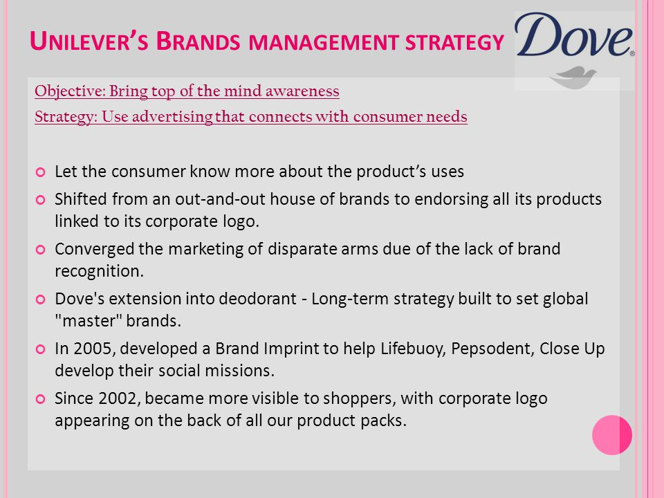 Unilever's Brands management strategy