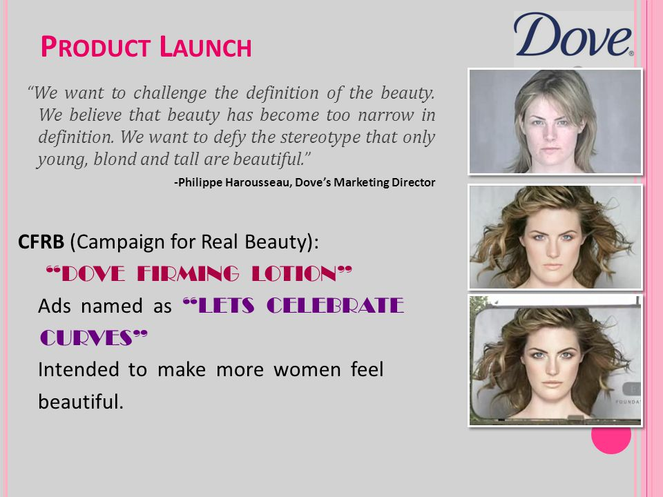Product Launch CFRB (Campaign for Real Beauty): DOVE FIRMING LOTION