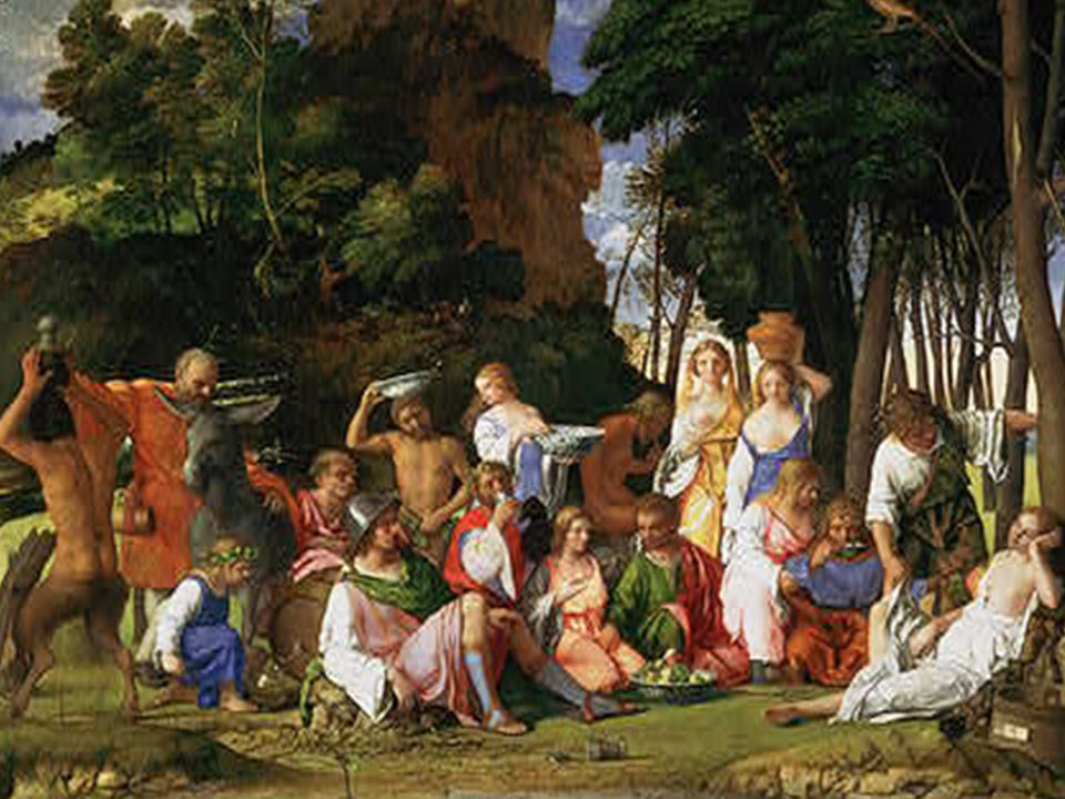 The background landscape was painted by Giorgione creating a harmonious balance to the foreground figures.