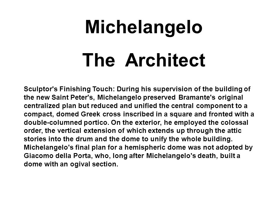 Michelangelo The Architect