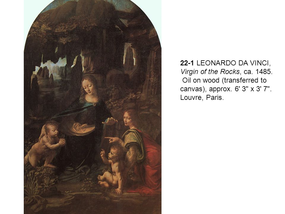 22-1 LEONARDO DA VINCI, Virgin of the Rocks, ca. 1485.
