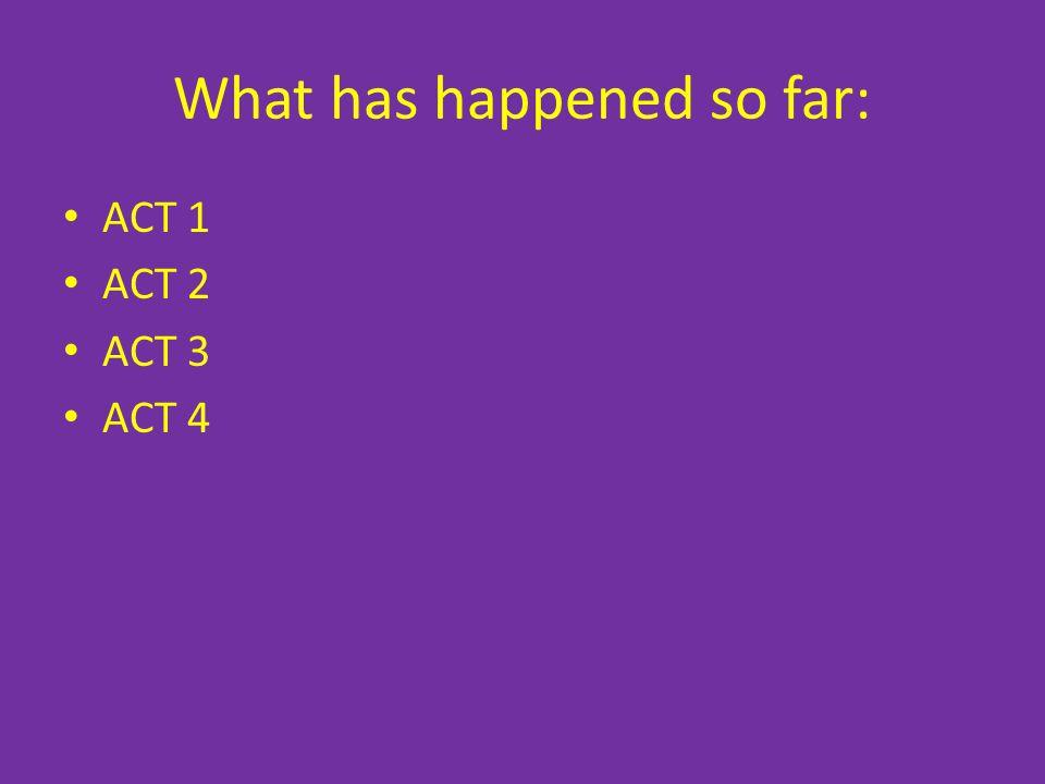 What has happened so far: