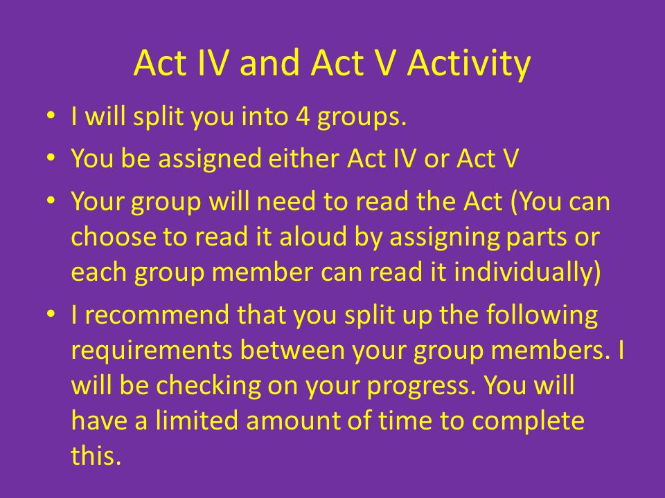 Act IV and Act V Activity