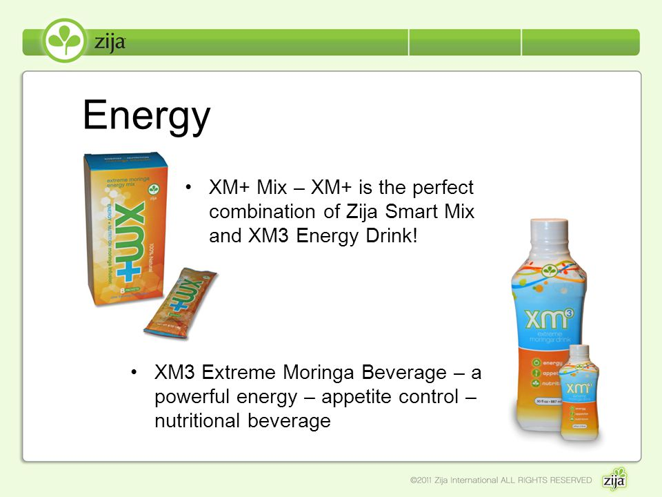 Energy XM+ Mix – XM+ is the perfect combination of Zija Smart Mix and XM3 Energy Drink!