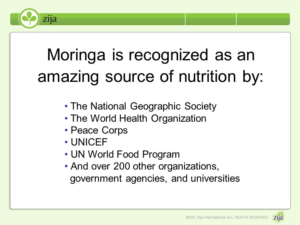 Moringa is recognized as an amazing source of nutrition by: