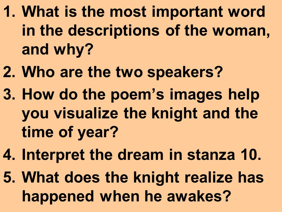 What is the most important word in the descriptions of the woman, and why