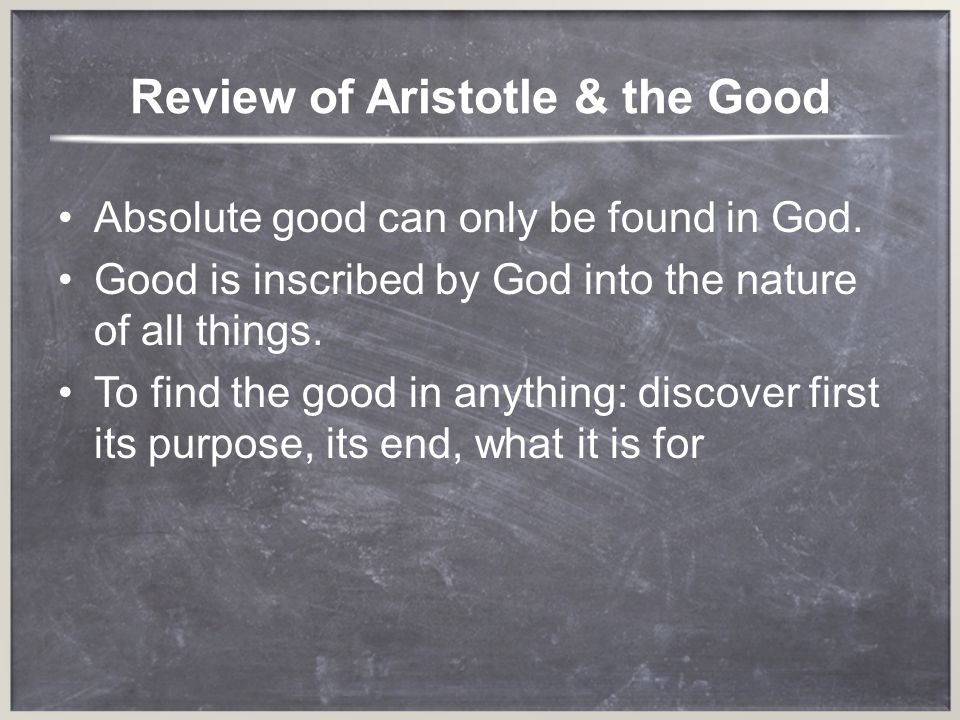 Review of Aristotle & the Good