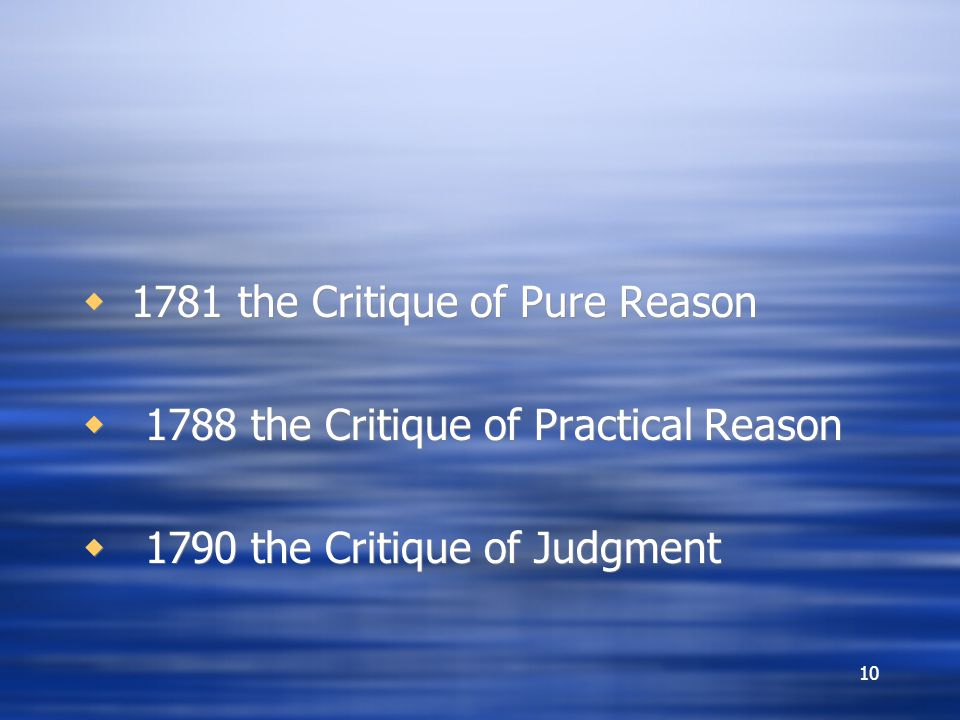 1781 the Critique of Pure Reason