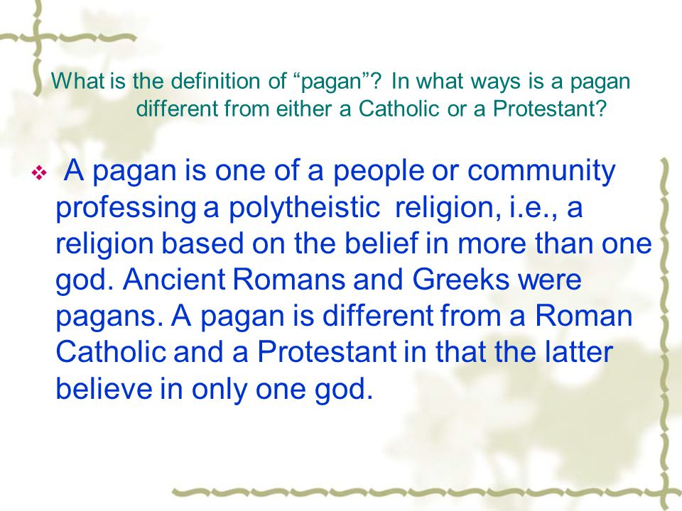 What is the definition of pagan