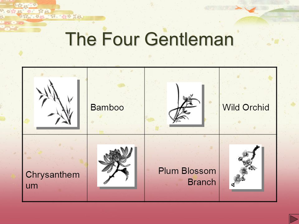 The Four Gentleman Bamboo Wild Orchid Chrysanthemum
