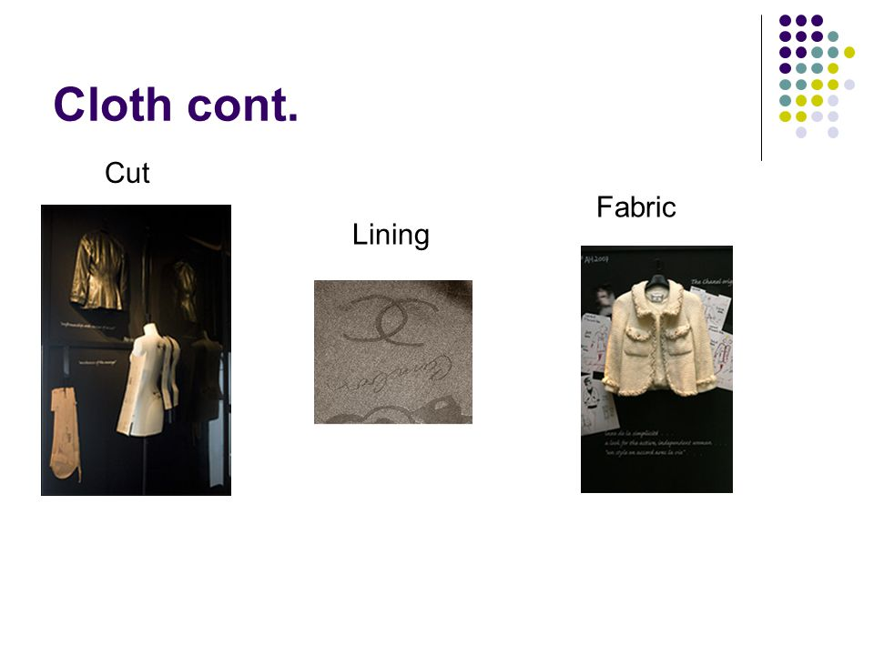 Cloth cont. Cut Fabric Lining
