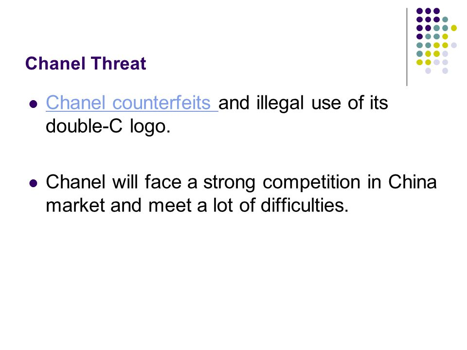 Chanel counterfeits and illegal use of its double-C logo.
