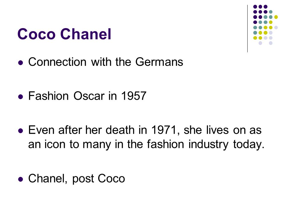 Coco Chanel Connection with the Germans Fashion Oscar in 1957