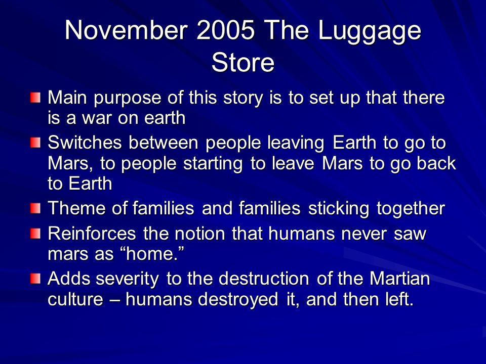 November 2005 The Luggage Store