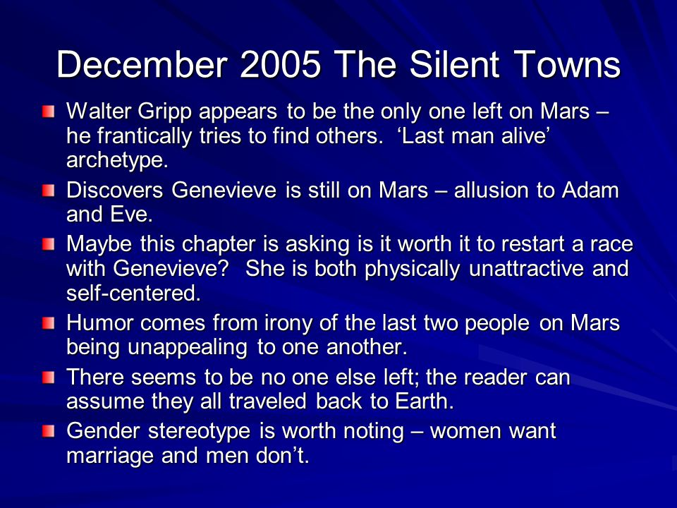 December 2005 The Silent Towns