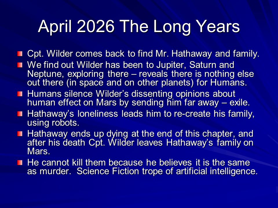 April 2026 The Long Years Cpt. Wilder comes back to find Mr. Hathaway and family.
