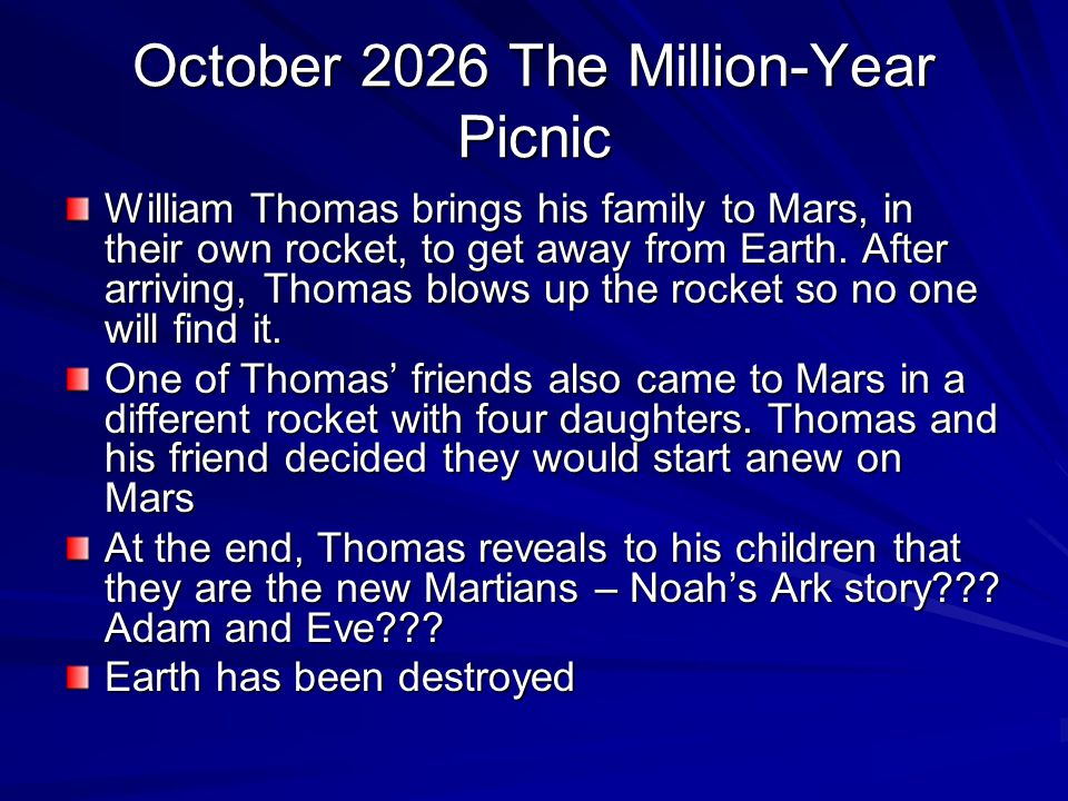 October 2026 The Million-Year Picnic