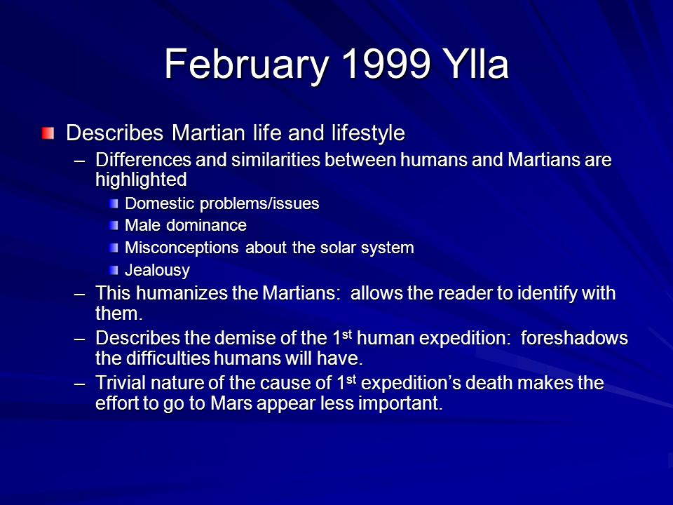 February 1999 Ylla Describes Martian life and lifestyle