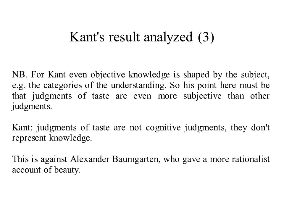 Kant s result analyzed (3)
