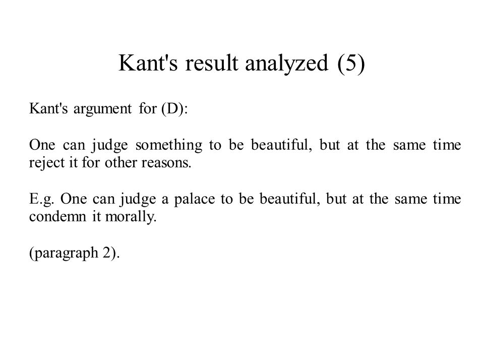 Kant s result analyzed (5)