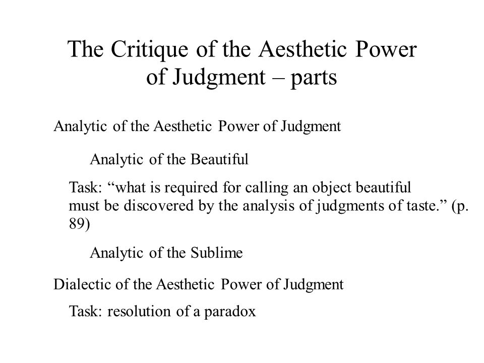 The Critique of the Aesthetic Power of Judgment – parts
