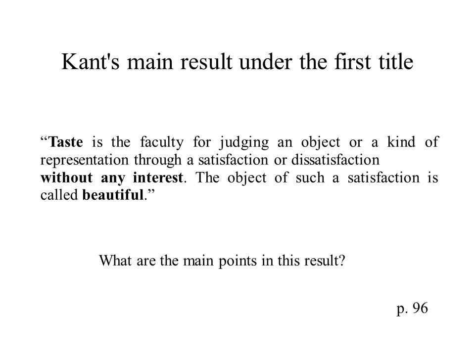 Kant s main result under the first title