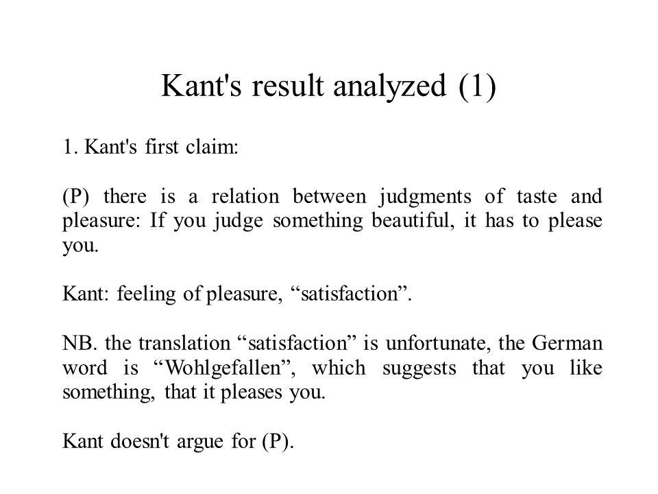 Kant s result analyzed (1)