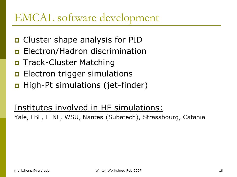 EMCAL software development