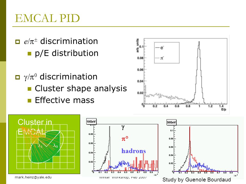 EMCAL PID e/p discrimination p/E distribution g/p0 discrimination