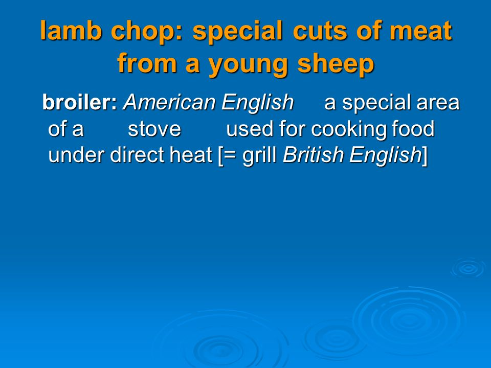 lamb chop: special cuts of meat from a young sheep