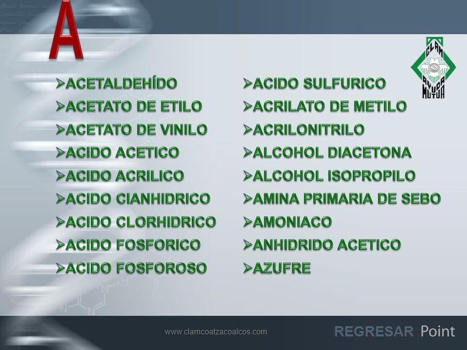 A ACETALDEHÍDO ACIDO SULFURICO ACETATO DE ETILO ACRILATO DE METILO