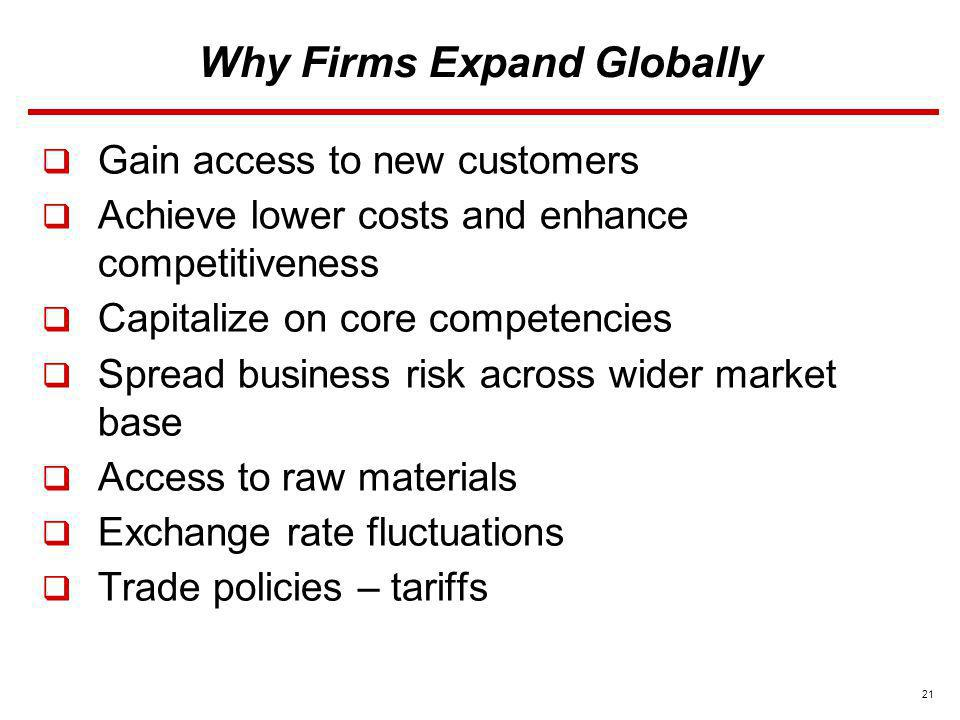 Why Firms Expand Globally