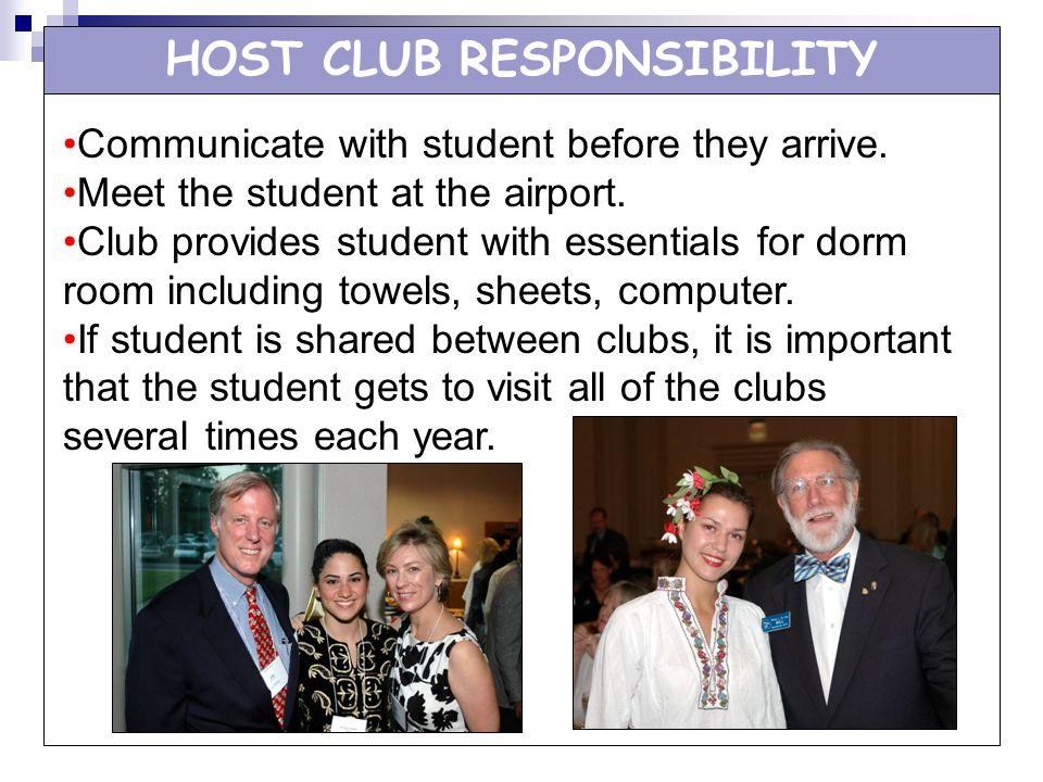 HOST CLUB RESPONSIBILITY