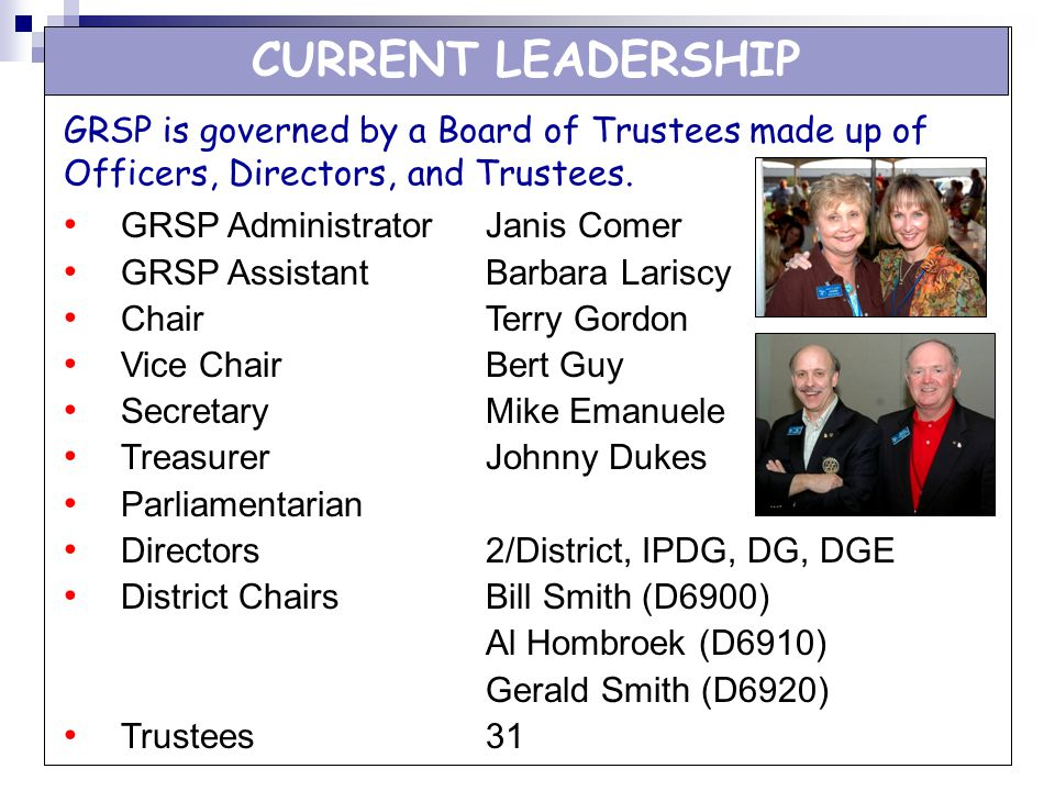 CURRENT LEADERSHIP GRSP is governed by a Board of Trustees made up of Officers, Directors, and Trustees.