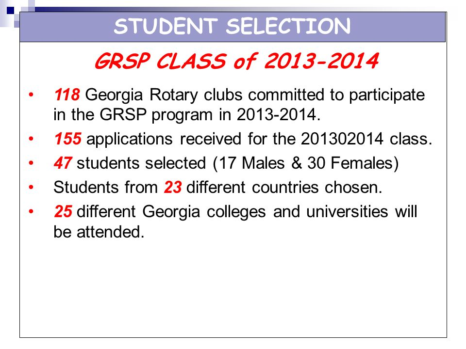 STUDENT SELECTION GRSP CLASS of 2013-2014