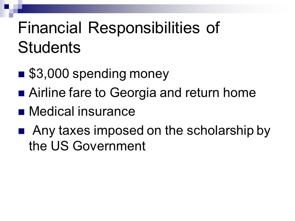 Financial Responsibilities of Students