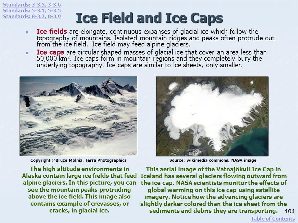 Standards: 3-3.5, 3-3.6 Standards: 5-3.1, 5-3.5. Standards: 8-3.7, 8-3.9. Ice Field and Ice Caps.