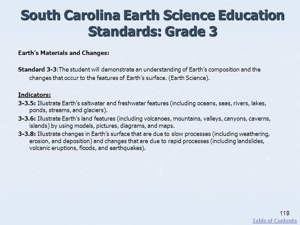 South Carolina Earth Science Education Standards: Grade 3