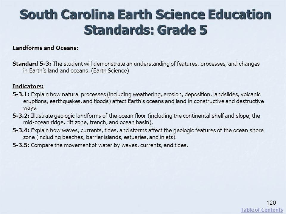 South Carolina Earth Science Education Standards: Grade 5