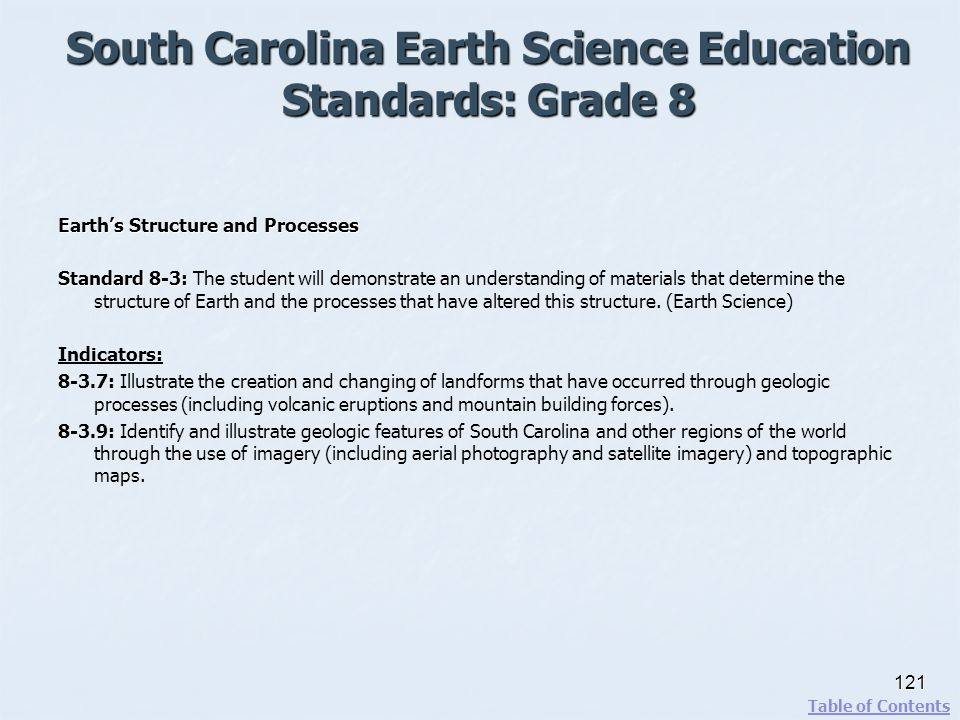 South Carolina Earth Science Education Standards: Grade 8