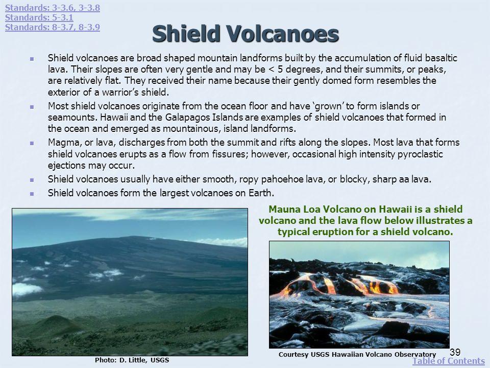Standards: 3-3.6, 3-3.8 Standards: 5-3.1. Standards: 8-3.7, 8-3.9. Shield Volcanoes.