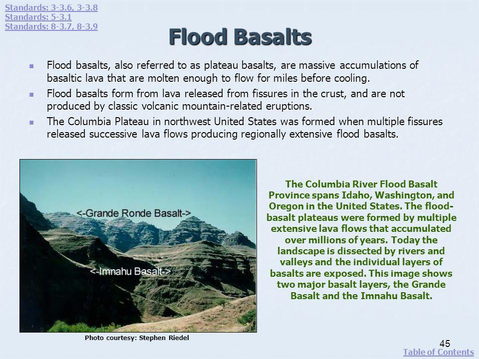 Standards: 3-3.6, 3-3.8 Standards: 5-3.1. Standards: 8-3.7, 8-3.9. Flood Basalts.