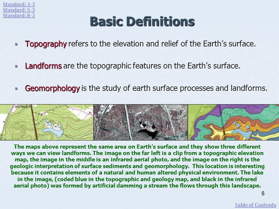 Standard: 3-3 Standard: 5-3. Standard: 8-3. Basic Definitions. Topography refers to the elevation and relief of the Earth's surface.