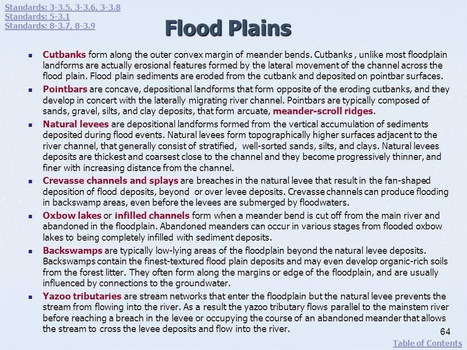 Standards: 3-3.5, 3-3.6, 3-3.8 Standards: 5-3.1. Standards: 8-3.7, 8-3.9. Flood Plains.