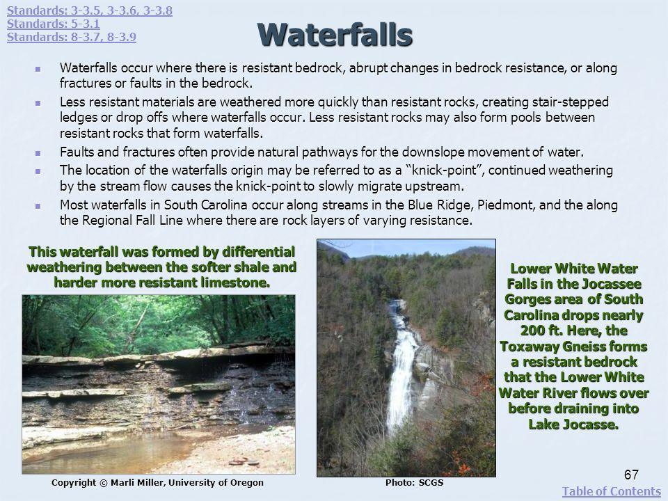 Standards: 3-3.5, 3-3.6, 3-3.8 Standards: 5-3.1. Standards: 8-3.7, 8-3.9. Waterfalls.