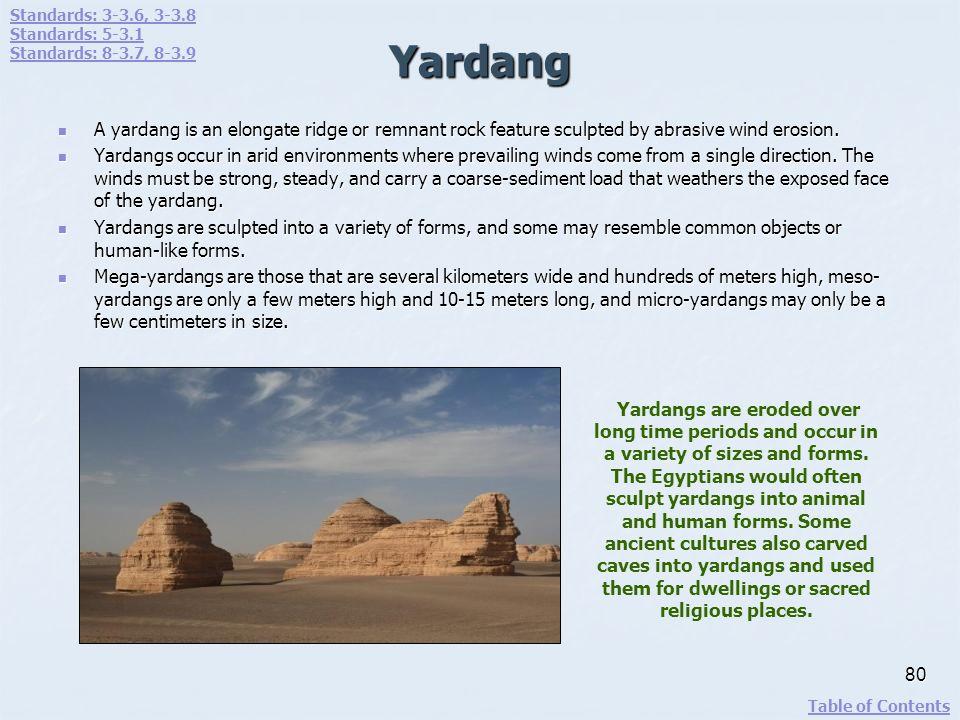 Standards: 3-3.6, 3-3.8 Standards: 5-3.1. Standards: 8-3.7, 8-3.9. Yardang.