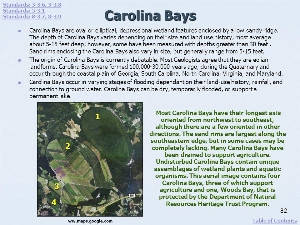 Standards: 3-3.6, 3-3.8 Standards: 5-3.1. Standards: 8-3.7, 8-3.9. Carolina Bays.