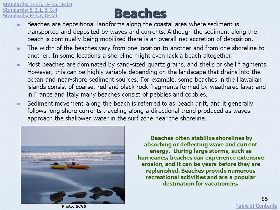 Standards: 3-3.5, 3-3.6, 3-3.8 Standards: 5-3.1, 5-3.4. Standards: 8-3.7, 8-3.9. Beaches.